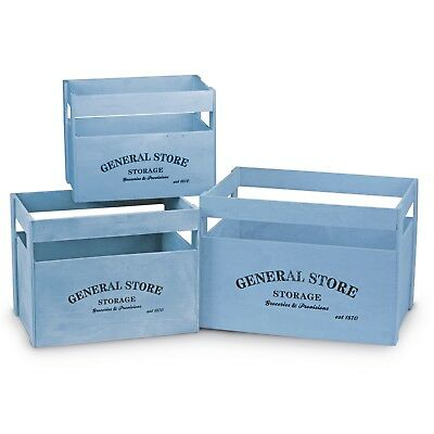 Vintage Style Wooden Apple Crate Storage Box 3 Pack Shabby Chic Powder Blue SALE