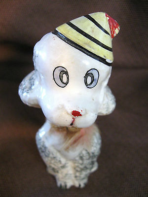 Poodle Dog Vintage Figurine  Japan  With Yellow Hat 5 Inches Tall