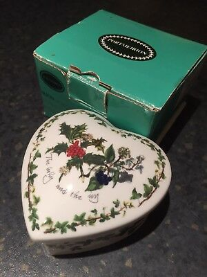 Portmeirion Christmas Holly and Ivy China Heart shaped covered box or pot