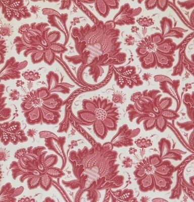 """French Antique 19thC Red & White Indienne Cotton/Linen Fabric Panel~133""""X 32""""~C"""