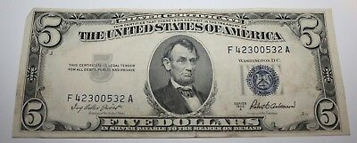 1953-A $5 Five Dollar United States Silver Certificate Circulated