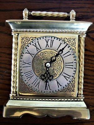 LARGE VINTAGE BRASS CARRIAGE CLOCK  working.