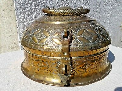 Large Antique Hand Crafted Indian Embossed Brass Betel Nut Pandan Box Container