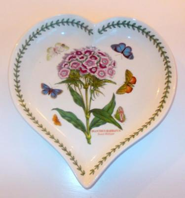 Vintage Portmeirion Botanic Garden Heart Shaped Dish Dianthus  9.25In W.