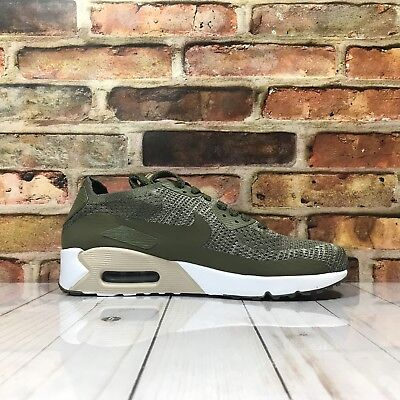 Nike Mens Air Max 90 Ultra 2.0 Flyknit Sz 9 Running Shoe Olive Green 875943-200