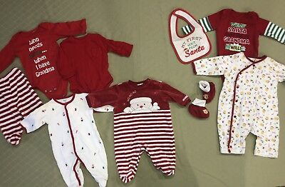 Infant Christmas Lot Of 9 Pieces Size 0-3, 3, 3-6 Months Unisex Boys Girls