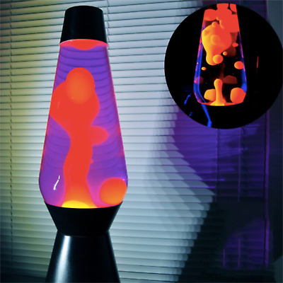 Lava Lamp Original Motion Night Light Orange Wax in Blue Liquid 14.5""