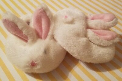 Build-A-Bear Babw Shoes White & Pink Bunny Rabbit Slippers Fuzzy Bedtime Pjs