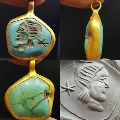 Beautiful Old Turquoise King face intaglio stone gold plated pendant    # 7i