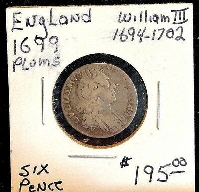 England six pence 1699 with plumes William III Fine