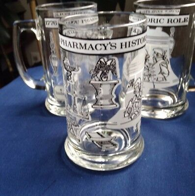 """(3) Pharmacy's Historic Role 1776 - 1976 Bicentennial Heavy Mugs 5 1/2"""" Tall Exc"""