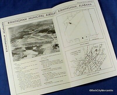 1940 Birmingham Municipal Airport Birmingham Alabama Airport Data Sheet Framable