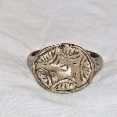 Ancient Medieval Roman Bronze Wax Seal Ring Military Soldier
