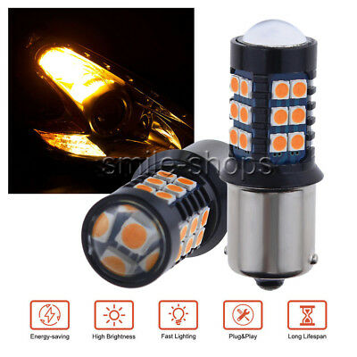 2X 1156 BAU15S PY21W 7506 LED Daytime Running Light Amber Yellow Bulb 33SMD 3030