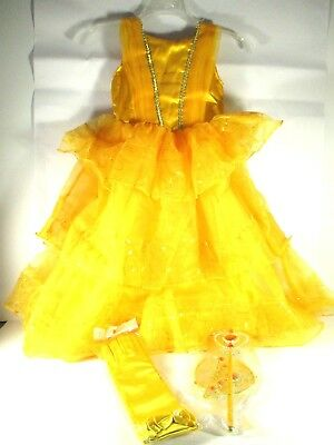Disney Girl Belle Princess Dress Up Costume Yellow with Accessories 3 to 4 yr