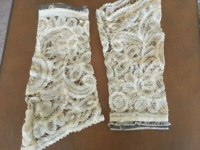 Antique vtg Victorian Edwardian pr French needle lace sleeves cuffs ecru color