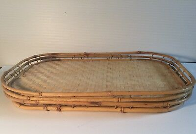 4 Mcm Bamboo Wicker Tiki Woven Serving Tv Bed Party Trays The Good Design