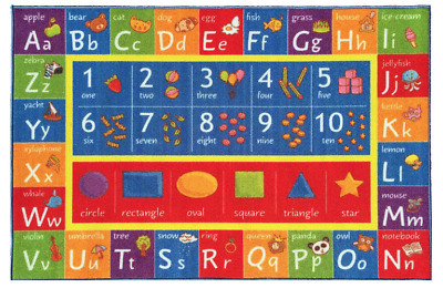 Multi-Color Kids Children Alphabet Numbers Shapes Educational Learning Area Rug