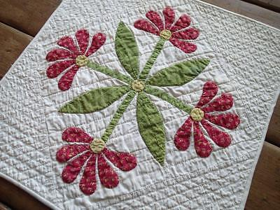 Gorgeous! Antique Applique Red & Green Table or Doll QUILT Mexican or Aztec Rose