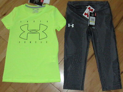 Under Armour neon fitted logo top & cropped capris leggings NWT girls' M YMD