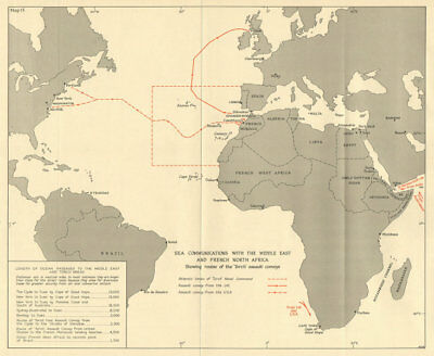 Middle East & French North Africa sea routes 1942 Operation Torch 1966 old map