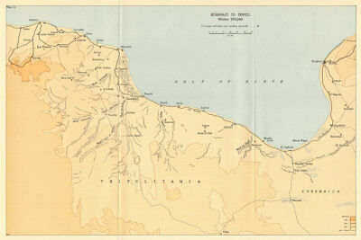 Benghazi to Tripoli Winter 1942/43. World War 2 North Africa Campaign 1966 map
