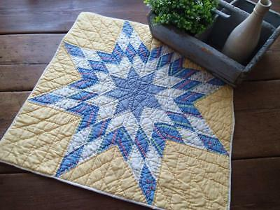 Excellent  GIFT Vintage 30s Yellow & Blue Cottage Home Table or Crib QUILT 22""