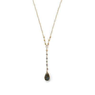 Labradorite Necklace Gold-plated Y-style with Teadrop Pendant