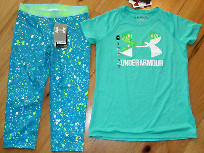 Under Armour logo top & cropped capris leggings NWT girls L YLG green