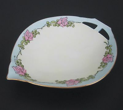 Antique Dish Tear Drop Ceramic Pink Rose Blue Gold Rim Cut Out Handle Germany