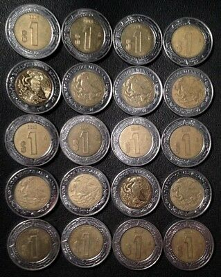 MEXICO lot BIMETALLIC 1 $1 PESO unsearched world un snake 20 coins