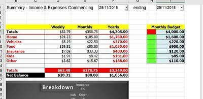 Income & Expenses Excel Spreadsheet  - Simple!