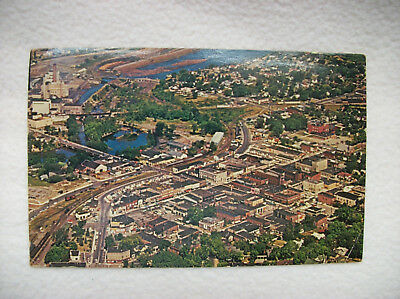 Rhinelander Wisconsin Aerial View Downtown Business Section Postcard~Real Photo