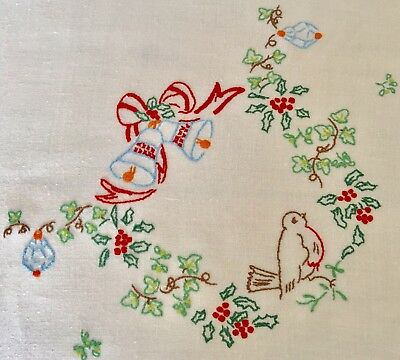 Vintage Hand Embroidered Christmas Robin Holly Table Cloth Crochet Trim
