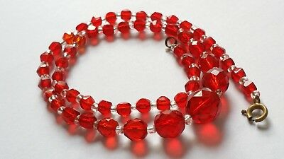 Czech Antique Art Deco Red Faceted Glass Bead Necklace