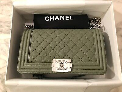 5bd0371c7203 NWT RARE AUTH CHANEL BOY BAG Grey Green Quilted Caviar Leather Silver Chain  Bag