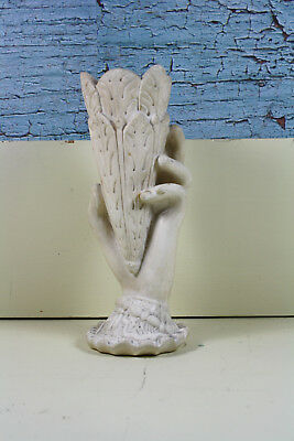 Victorian Chalkware Hand Vase Acanthus Leaves