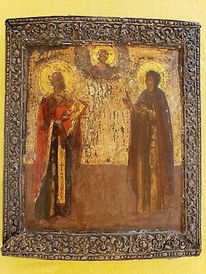 ANTIQUE RUSSIAN IKONE ICONS IKONEN ICON XVII OR XVIIIth siver AFANASY RYBAKOV RR
