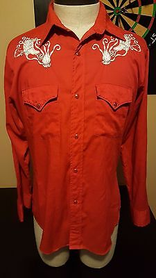 Vintage 80s Cowboy Joe Atlantic Western Red Pearl Snap Shirt Boot Embroidery 105