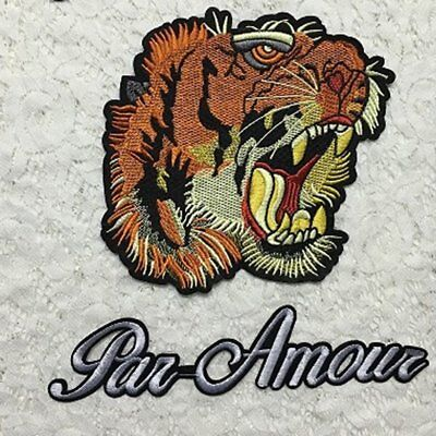 Fashionable Clothes Embroidered Patches DIY Tiger Head Shape Sew On Patch HW