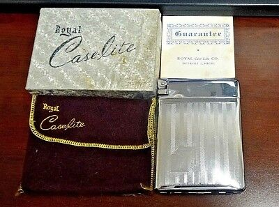 Vintage Royal Case-Lite Lighter & Cigarette Case Combo w/ Pouch & Box