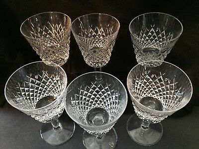 "6 Brilliant Waterford Crystal ""alana"" 6 Oz. Claret Wine Glasses Made In Ireland"