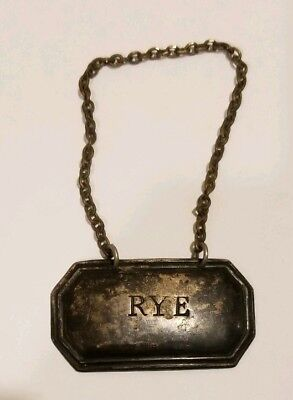 Vintage Sterling Silver RYE Liquor Decanter Tag - Made in England with Hallmarks