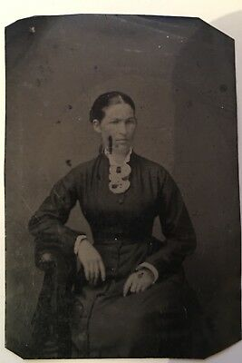 Antique Tintype Photograph Of A Woman From Civil War Era
