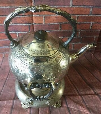 Antique Victorian John Round & Sons Silver Plated Spirit Kettle, Stand & Burner