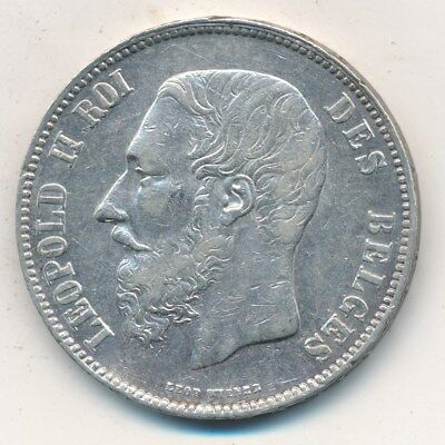 1868 Belgium Silver 5 Francs-Very Nice Circulated Silver Coin-Ships Free!
