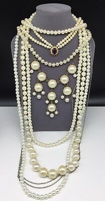 Pearl Necklace Lot Beaded Costume Jewelry Vintage Mod Faux Pearls