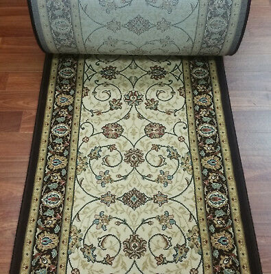 "Rug Depot Hall Runner Remnant 26"" x 16'3 - Ivory/Brown Hallway Rug Runner - Poly"