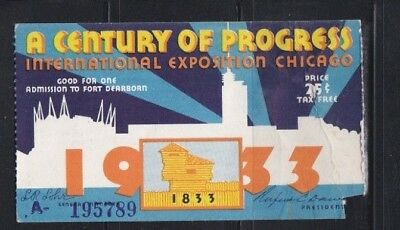 1933 Chicago Century of Progress Ticket stub - Homan Ave. - Condition: Wrinkles