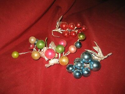 3 Vintage Christmas Corsage**mercury Glass Balls Beads Spike**package Decoration
